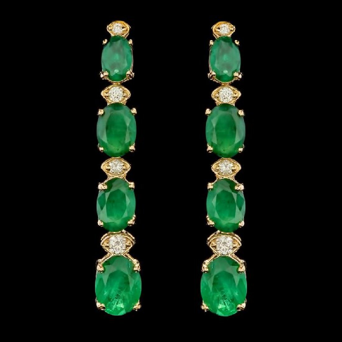 14k Gold 5.50ct Emerald 0.35ct Diamond Earrings