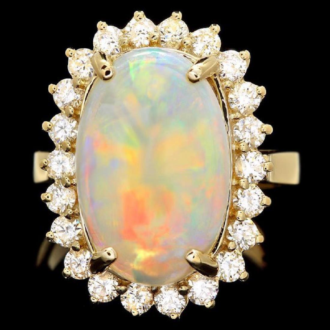 14k Yellow Gold 4.00ct Opal 1.00ct Diamond Ring