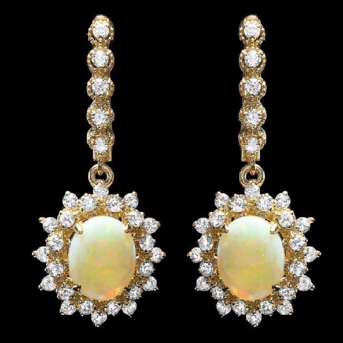 14k Gold 2.50ct Opal 1.85ct Diamond Earrings
