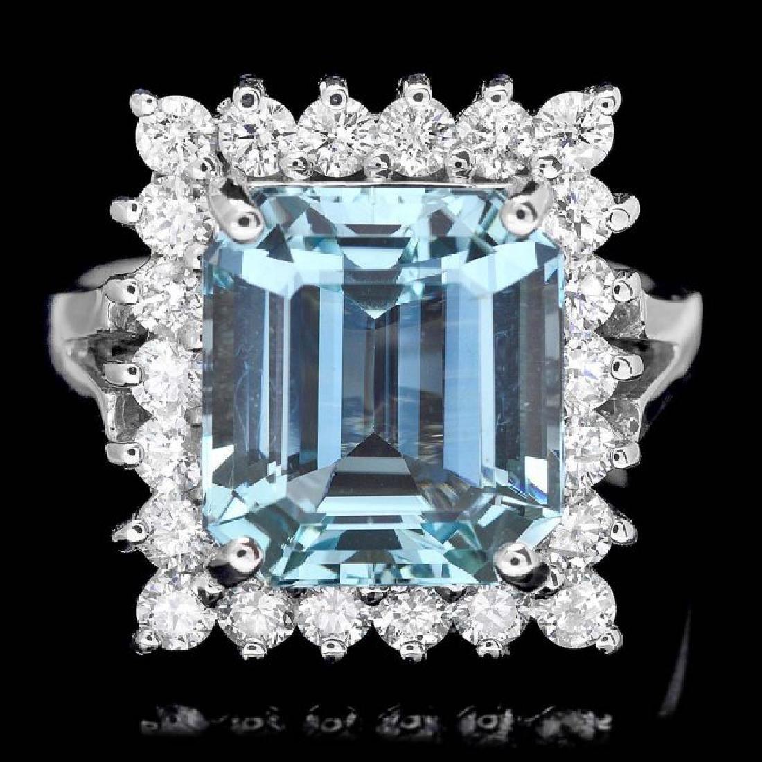 14k Gold 2.00ct Aquamarine 1.00ct Diamond Ring