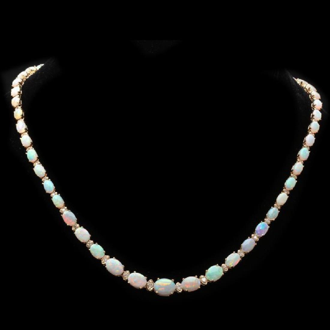 14k Gold 18.00ct Opal 1.15ct Diamond Necklace