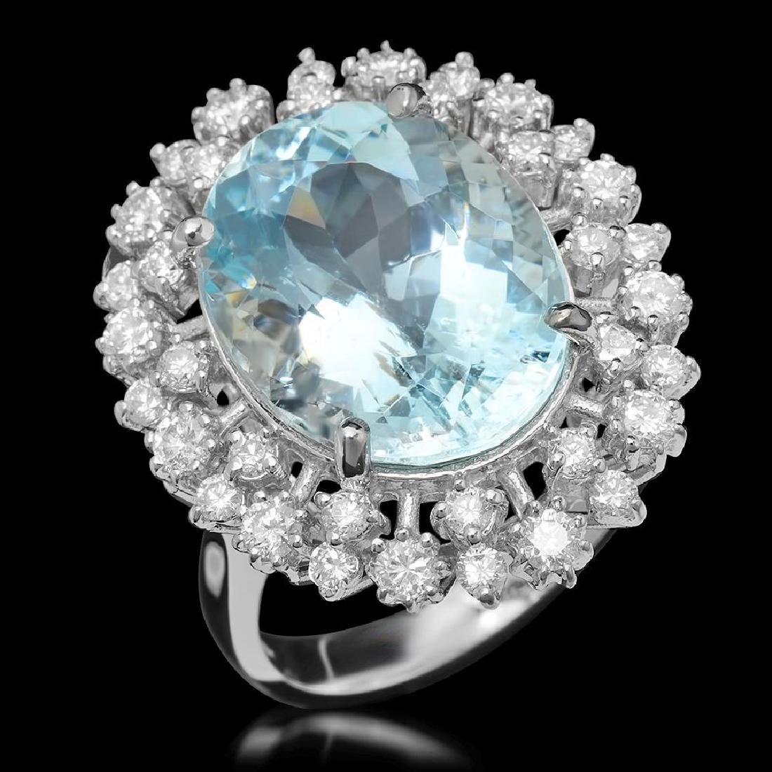 14K Gold 10.53ct Aquamarine & 1.27ct Diamond Ring