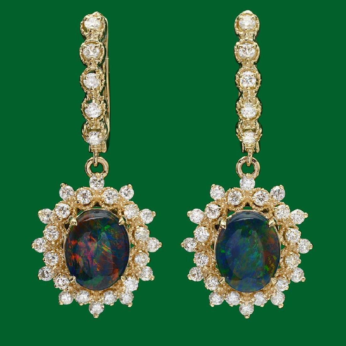 14k Gold 3.62ct Opal 1.60ct Diamond Earrings