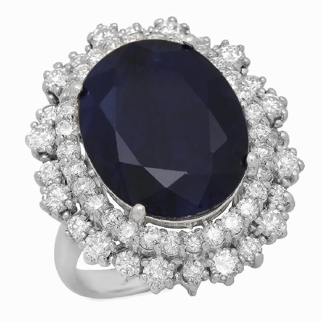 14K Gold 12.10ct Sapphire 1.85ct Diamond Ring