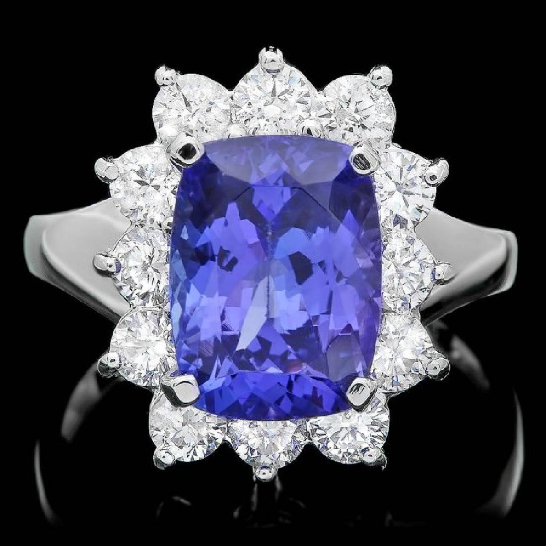 14k Gold 4.00ct Tanzanite 1.20ct Diamond Ring