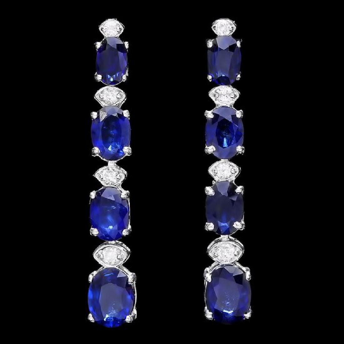 14k Gold 6ct Sapphire .35ct Diamond Earrings