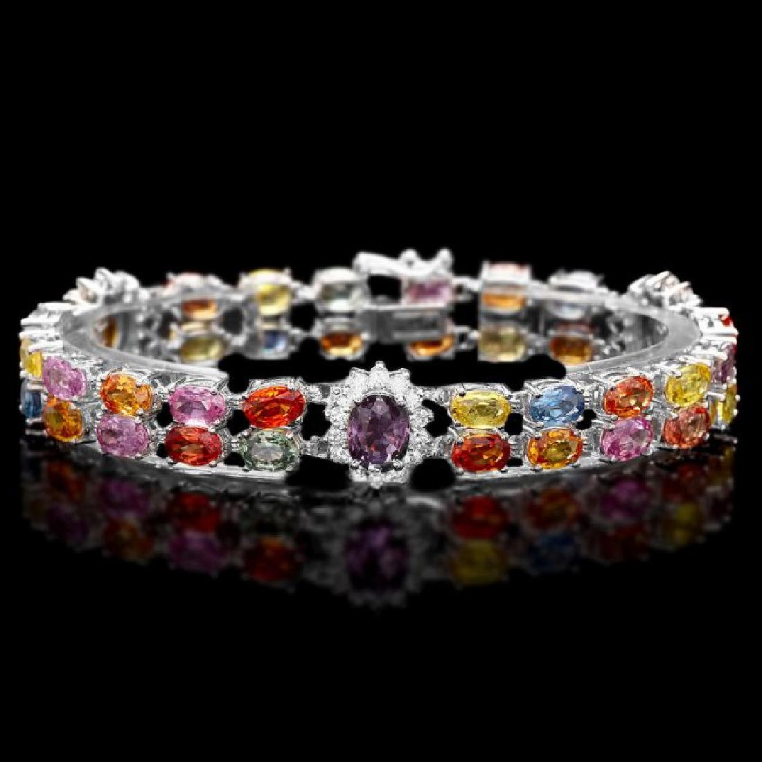 14k Gold 27ct Sapphire 1.20ct Diamond Bracelet