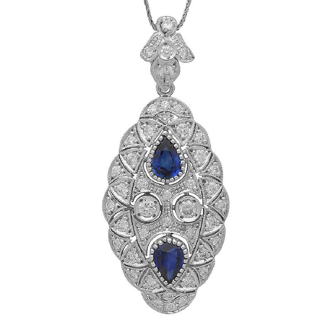 14K Gold 2.47ct Sapphire 1.96ct Diamond Pendant
