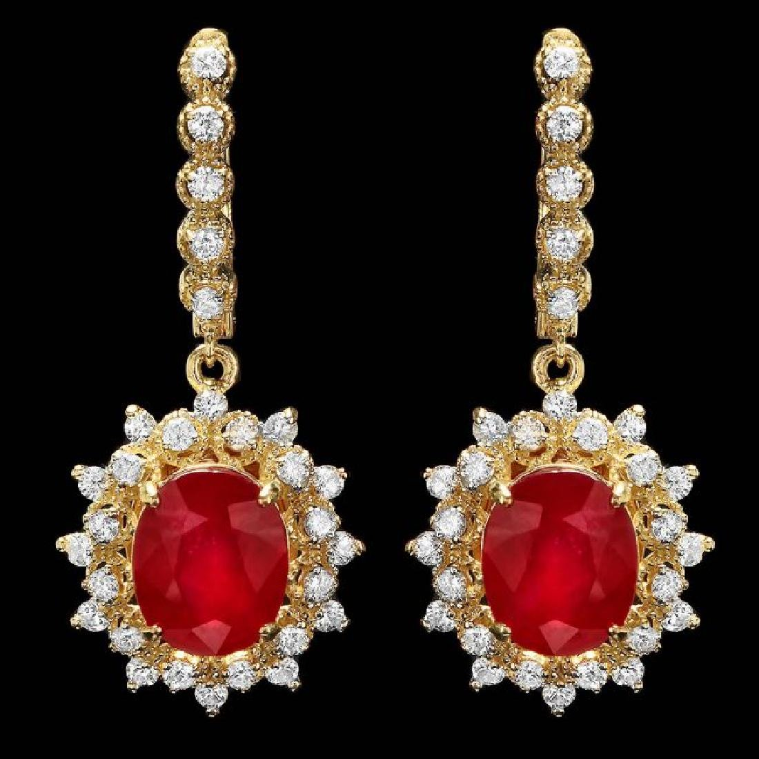 14k Gold 10.00ct Ruby 1.80ct Diamond Earrings