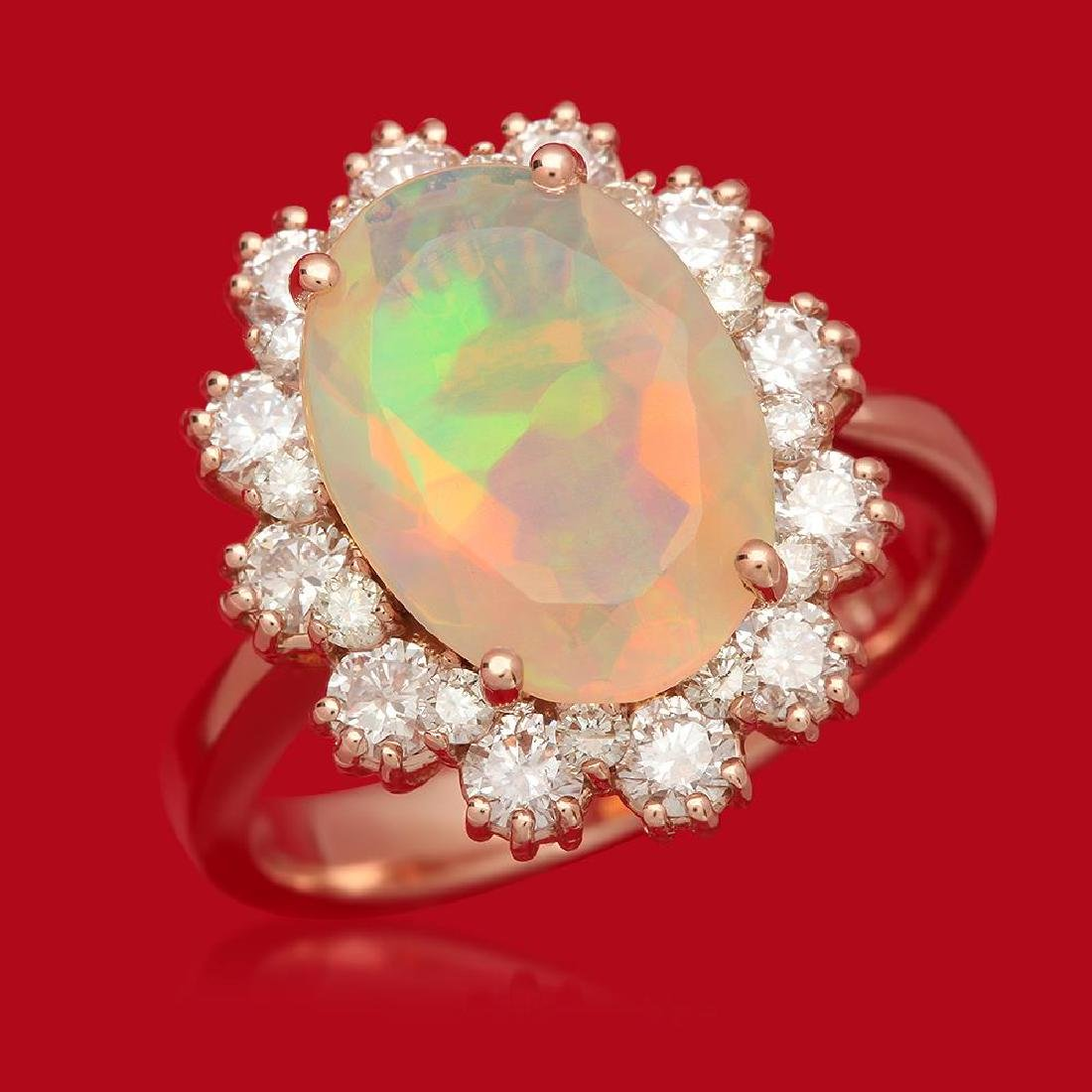 14K Gold 2.55ct Opal 1.18ct Diamond Ring