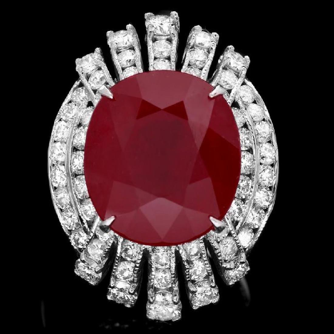 14k White Gold 15.50ct Ruby 2.10ct Diamond Ring
