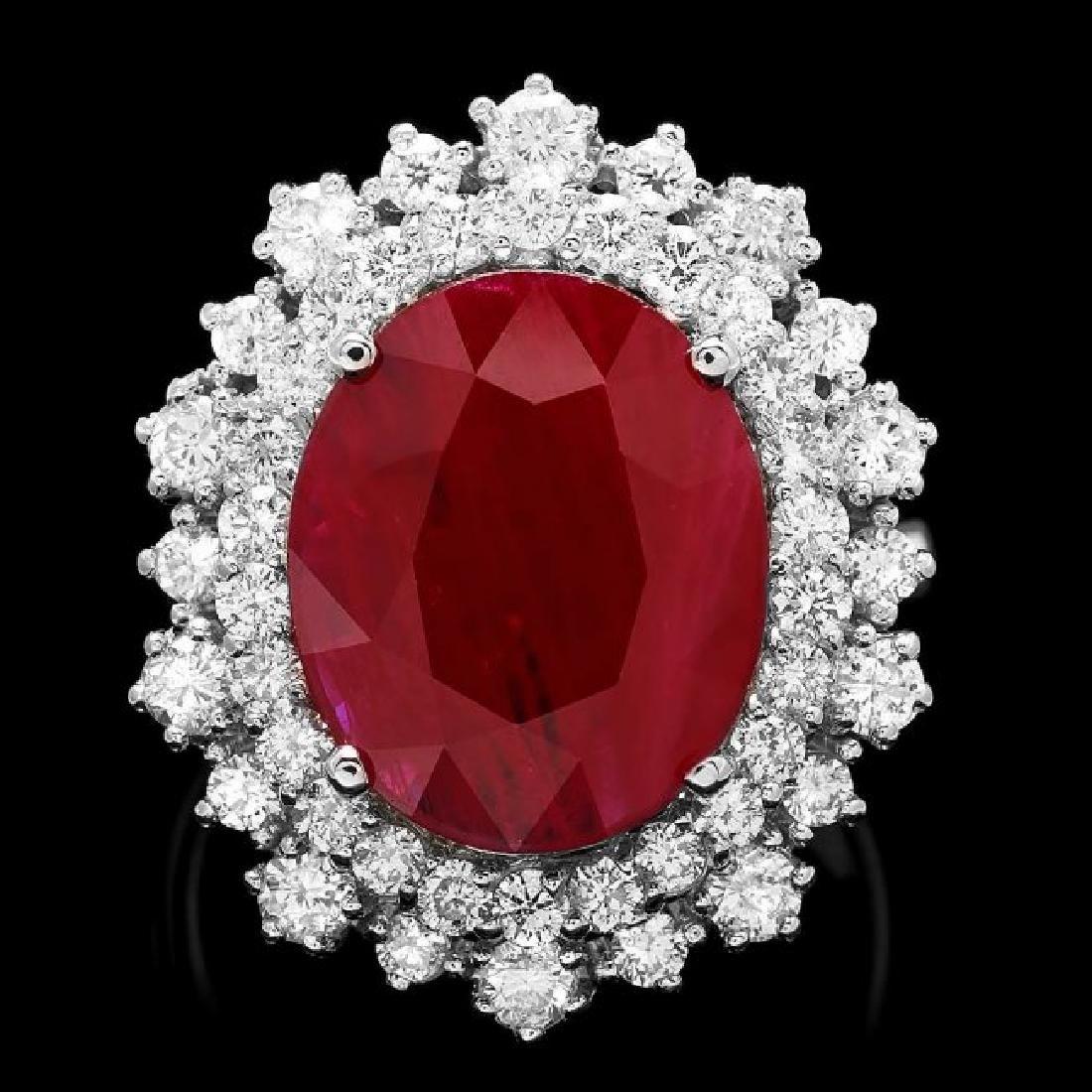 14k White Gold 4.75ct Ruby 1.50ct Diamond Ring