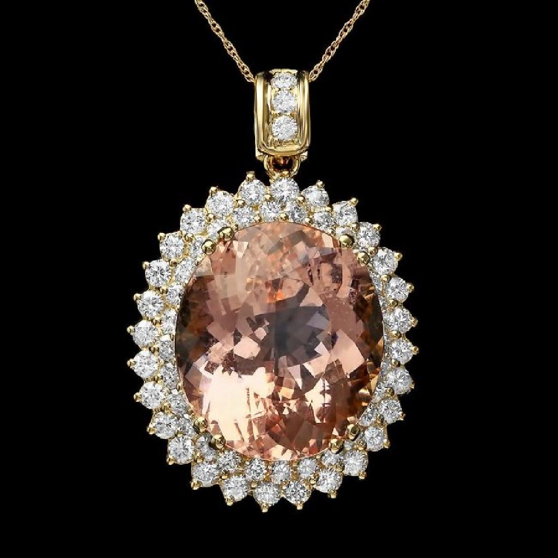 14k Gold 27ct Morganite 3ct Diamond Pendant