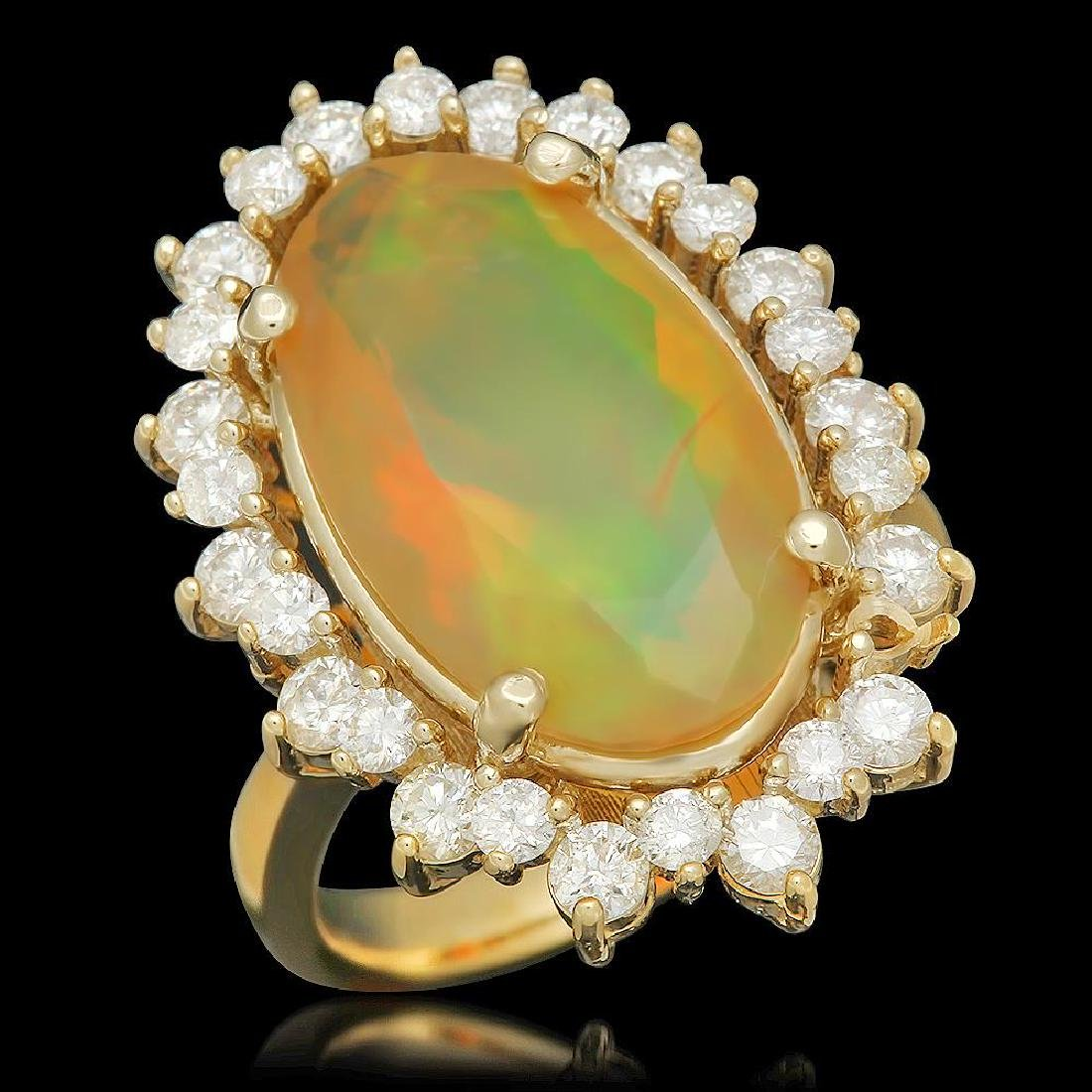 14K Gold 5.22ct Opal 1.40ct Diamond Ring