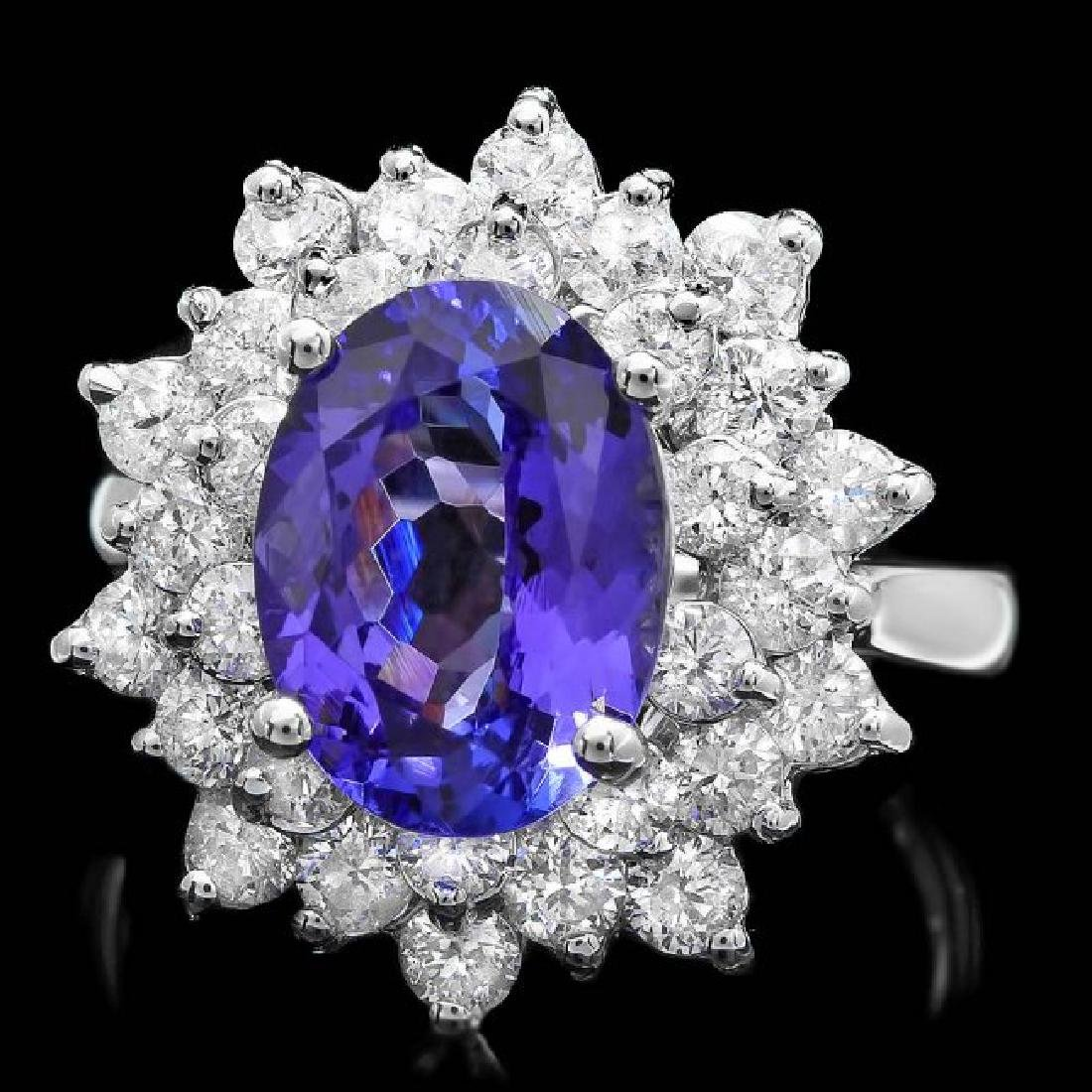 14k Gold 3.50ct Tanzanite 1.70ct Diamond Ring