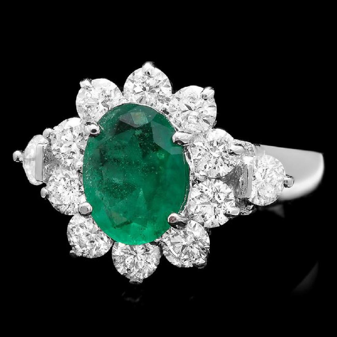 14k White Gold 1.50ct Emerald 1.75ct Diamond Ring