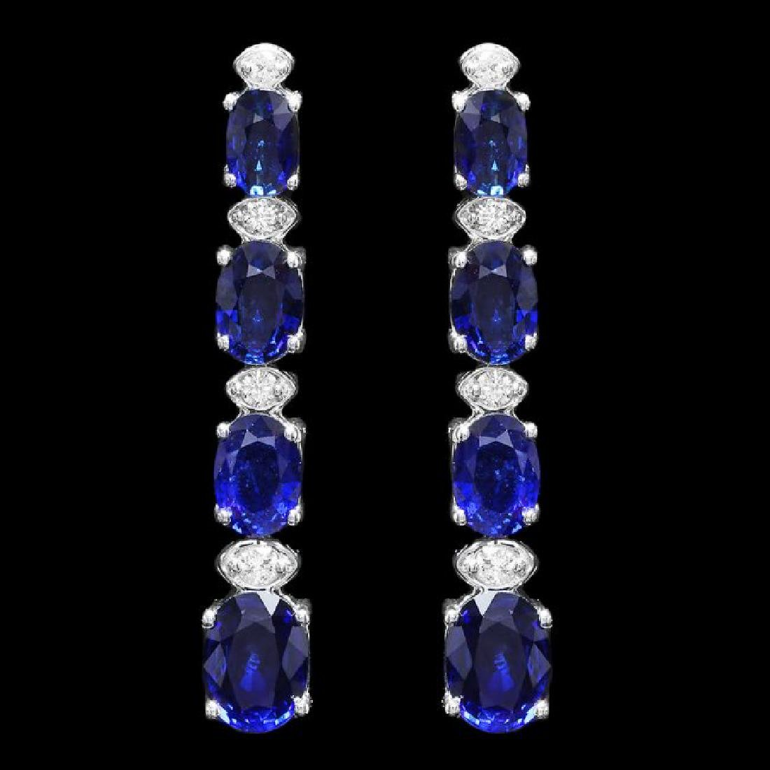 14k Gold 6.50ct Sapphire 0.30ct Diamond Earrings