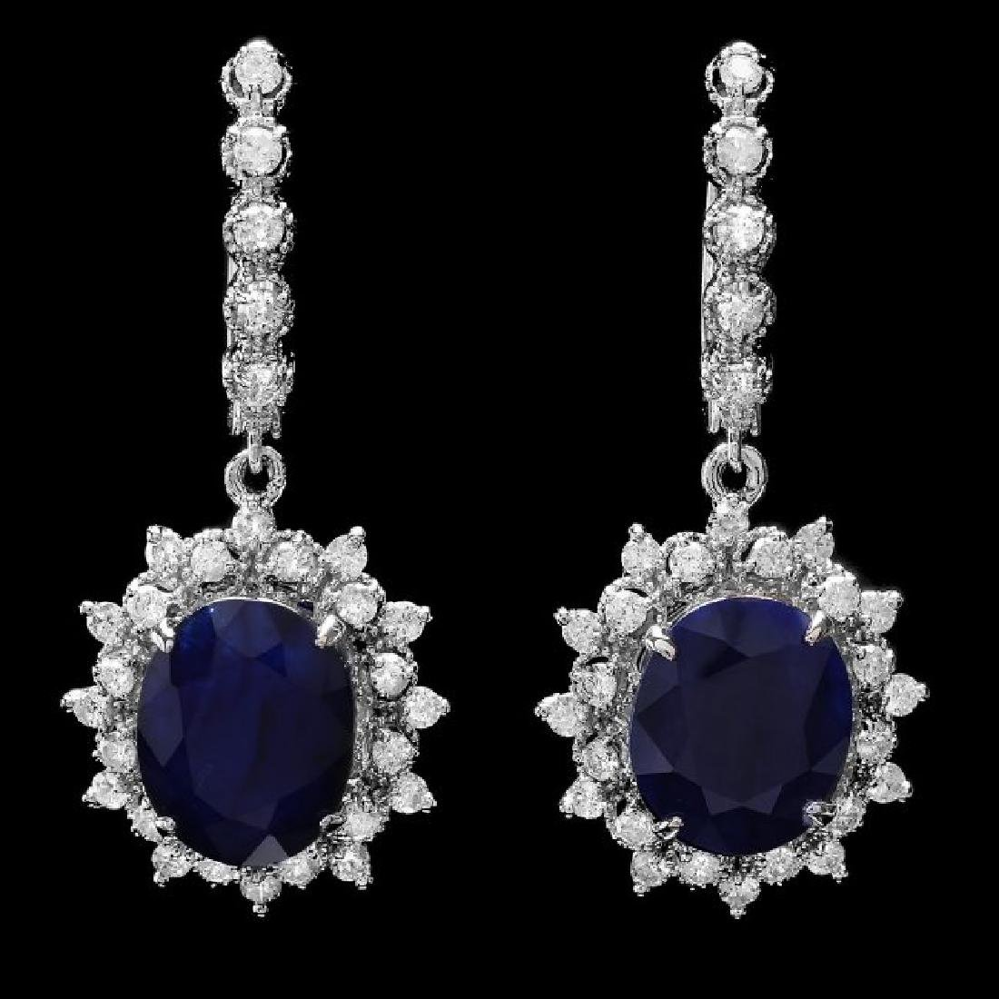 14k Gold 12ct Sapphire 1.70ct Diamond Earrings