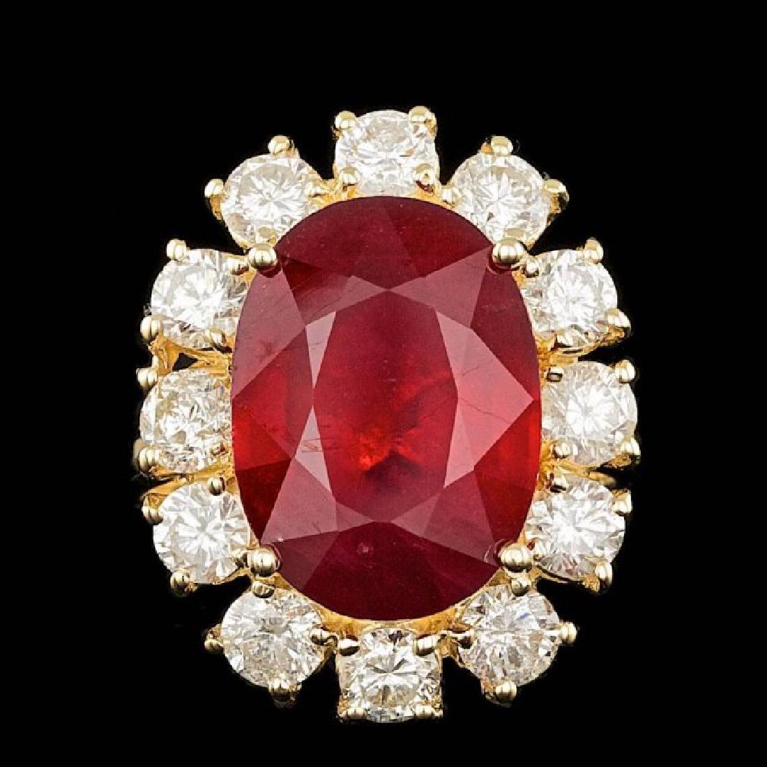 14k Yellow Gold 12.00ct Ruby 2.40ct Diamond Ring