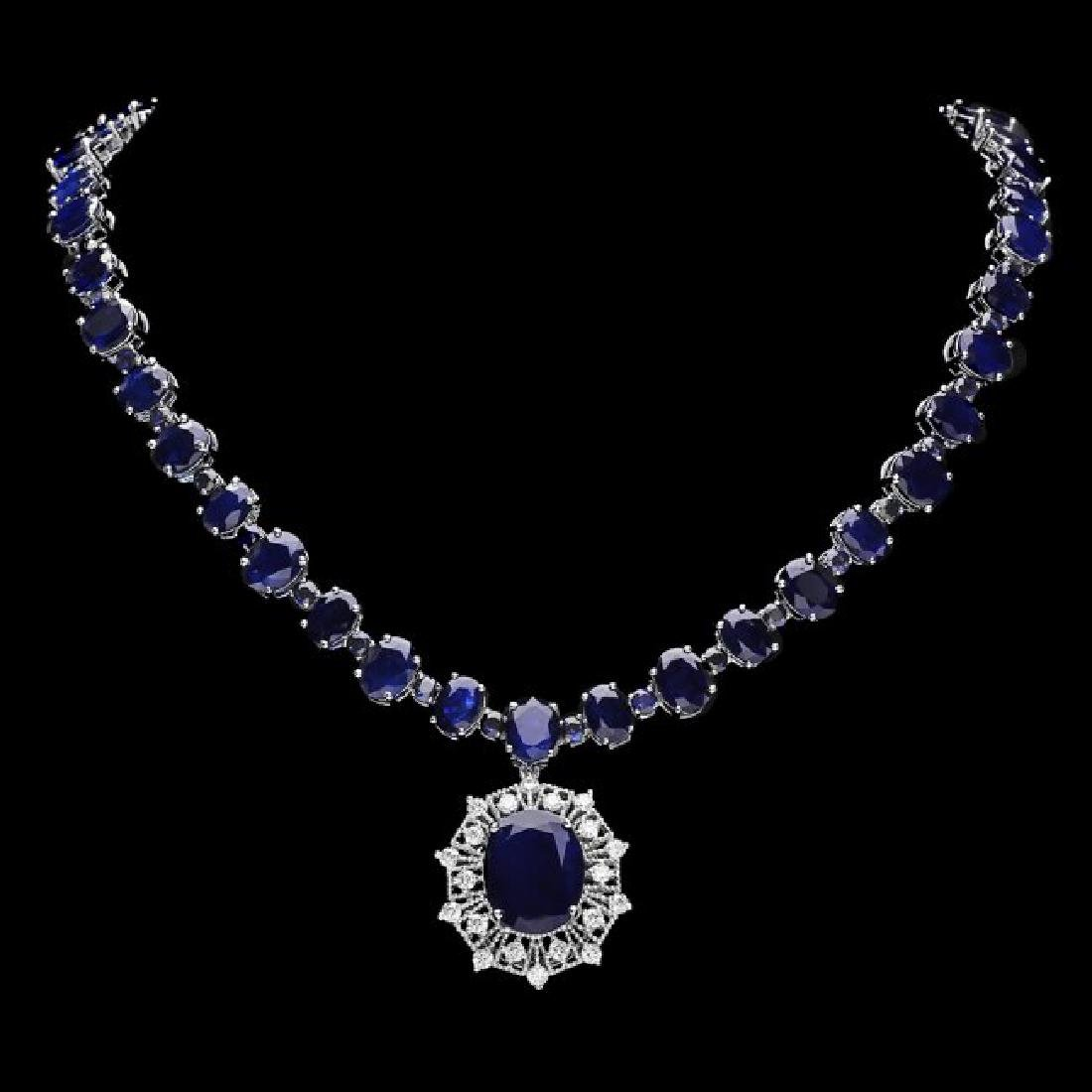 14k Gold 86ct Sapphire 1.40ct Diamond Necklace