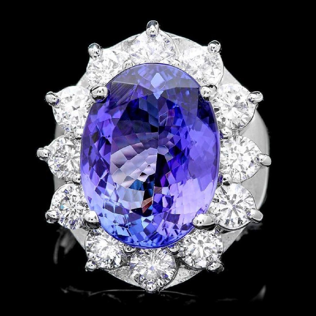 14k Gold 10.00ct Tanzanite 2.50ct Diamond Ring