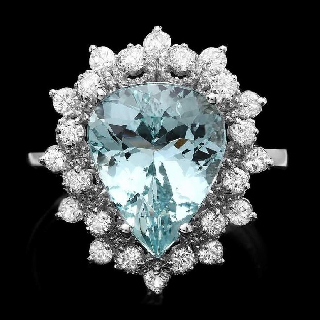 14k Gold 4.00ct Aquamarine 0.80ct Diamond Ring