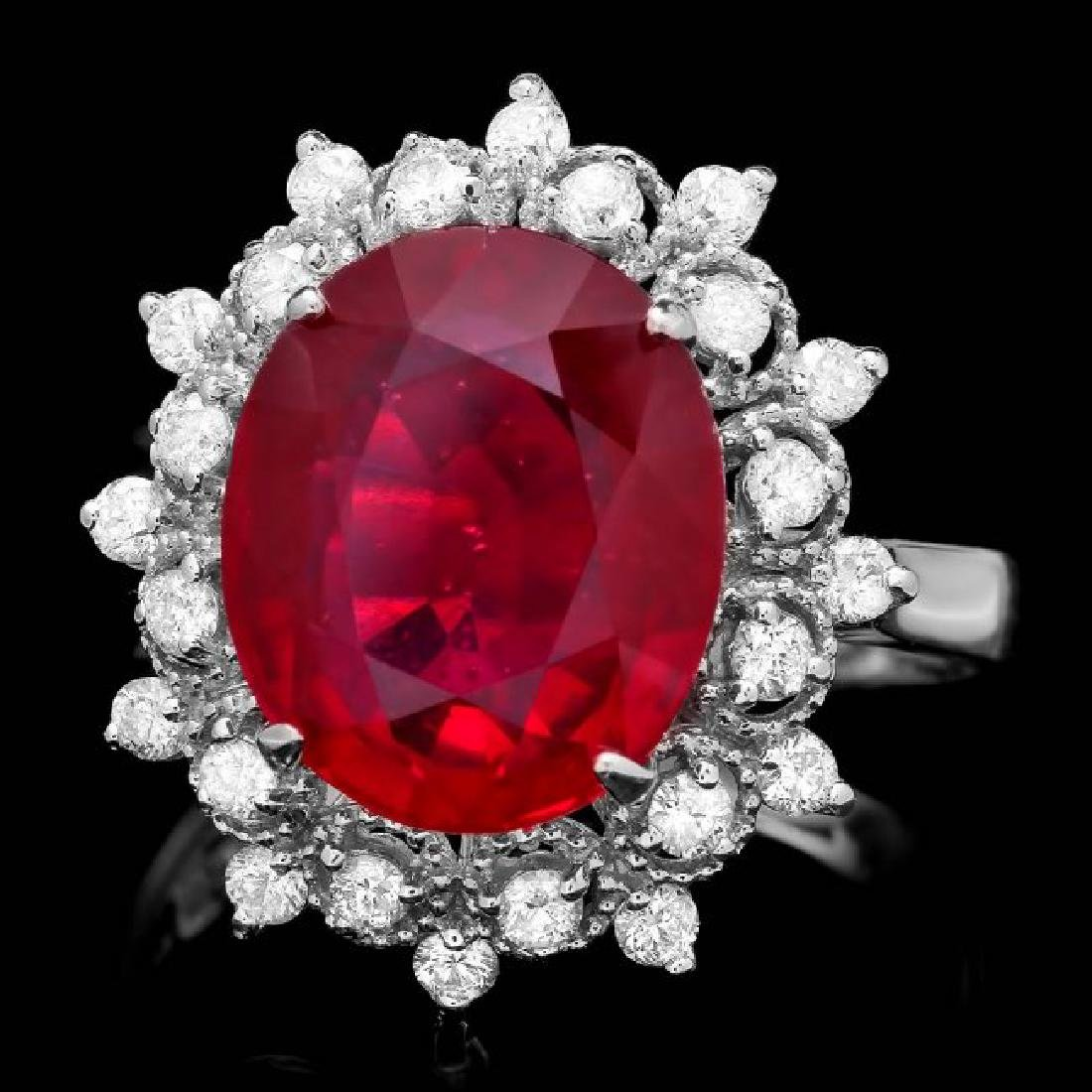 14k White Gold 6.50ct Ruby 0.50ct Diamond Ring