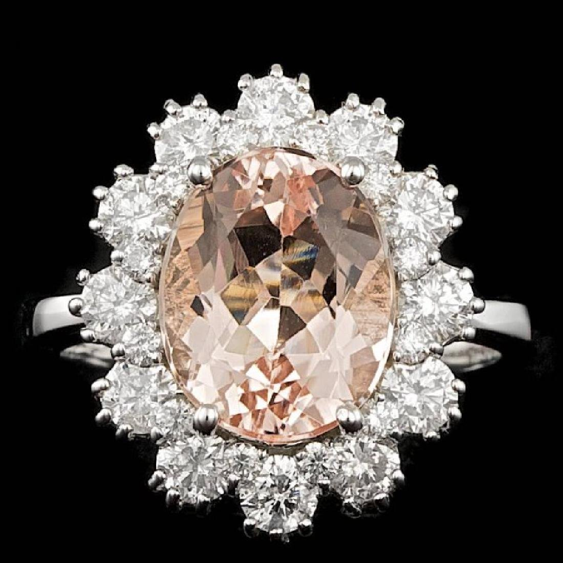 14k Gold 3.50ct Morganite 1.40ct Diamond Ring