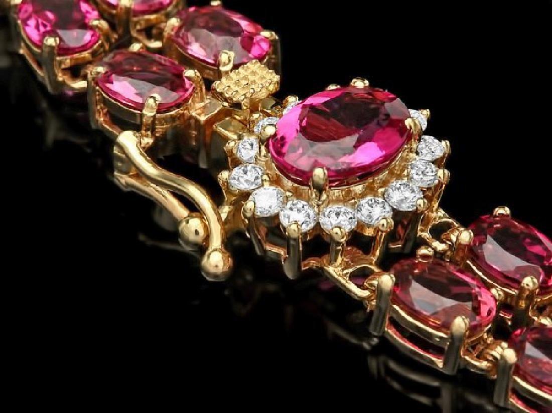 14k Gold 21ct Tourmaline 0.45ct Diamond Bracelet
