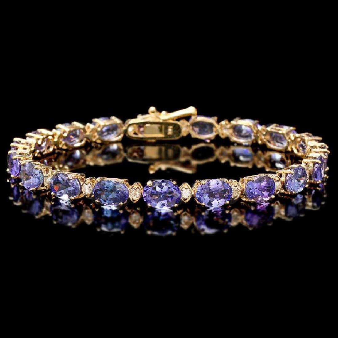 14k 17.00ct Tanzanite 0.80ct Diamond Bracelet