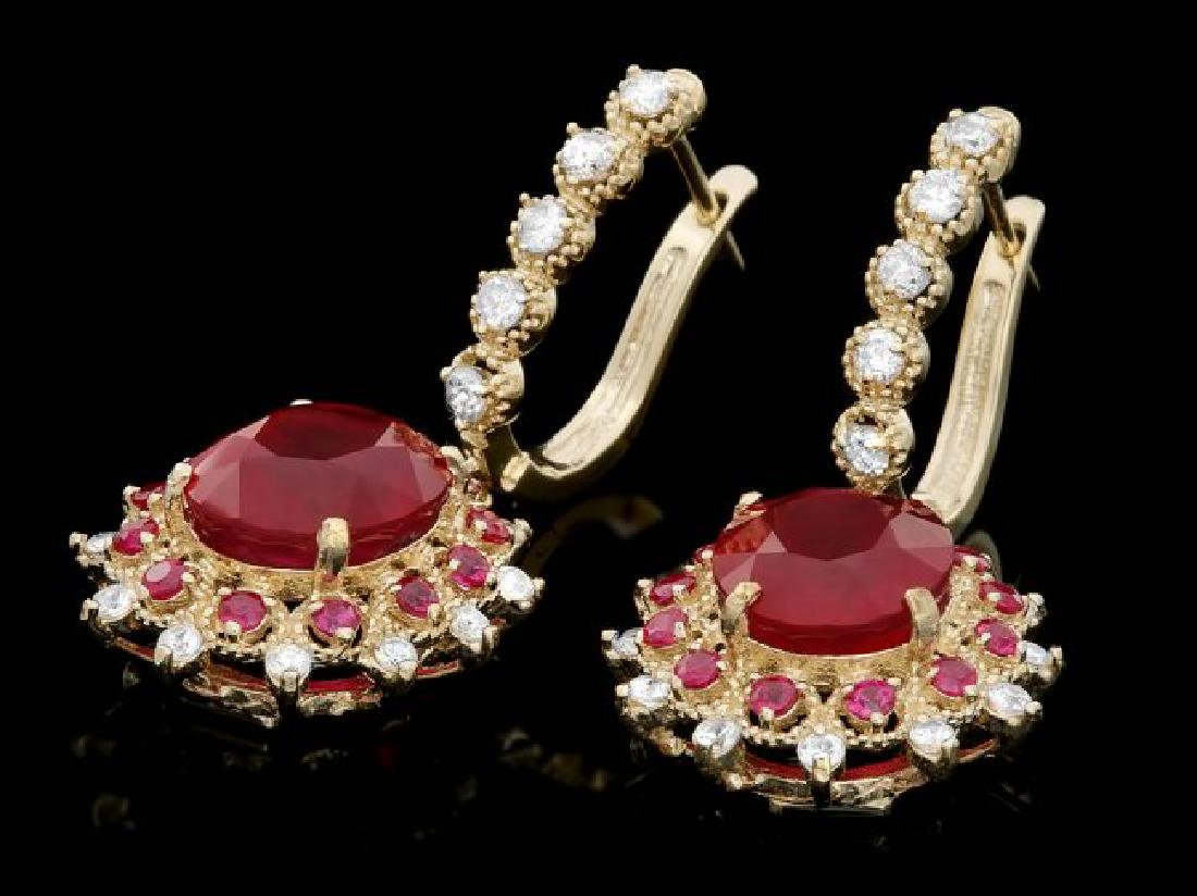 14k Gold 7.5ct Ruby 1.00ct Diamond Earrings