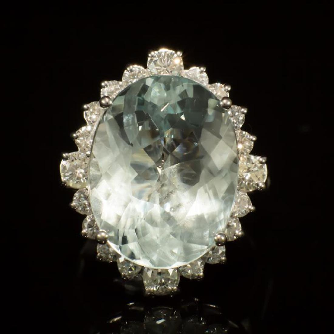 14K Gold 11.83ct Aquamarine 1.30ct Diamond Ring