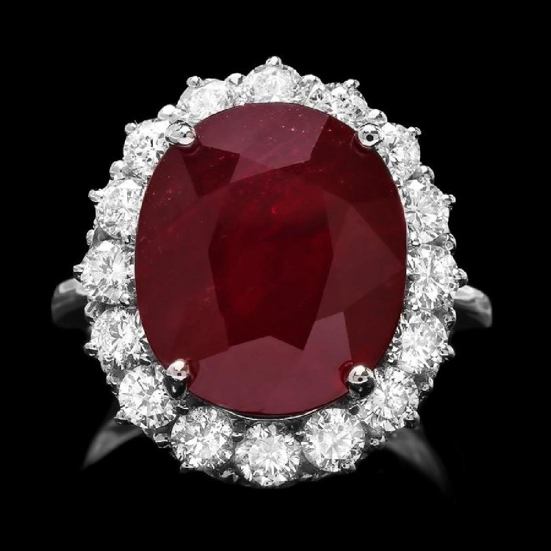 14k White Gold 12.00ct Ruby 1.60ct Diamond Ring
