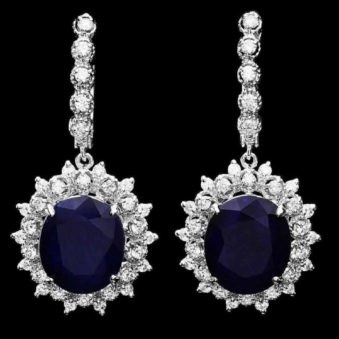 14k Gold 15ct Sapphire 1.50ct Diamond Earrings