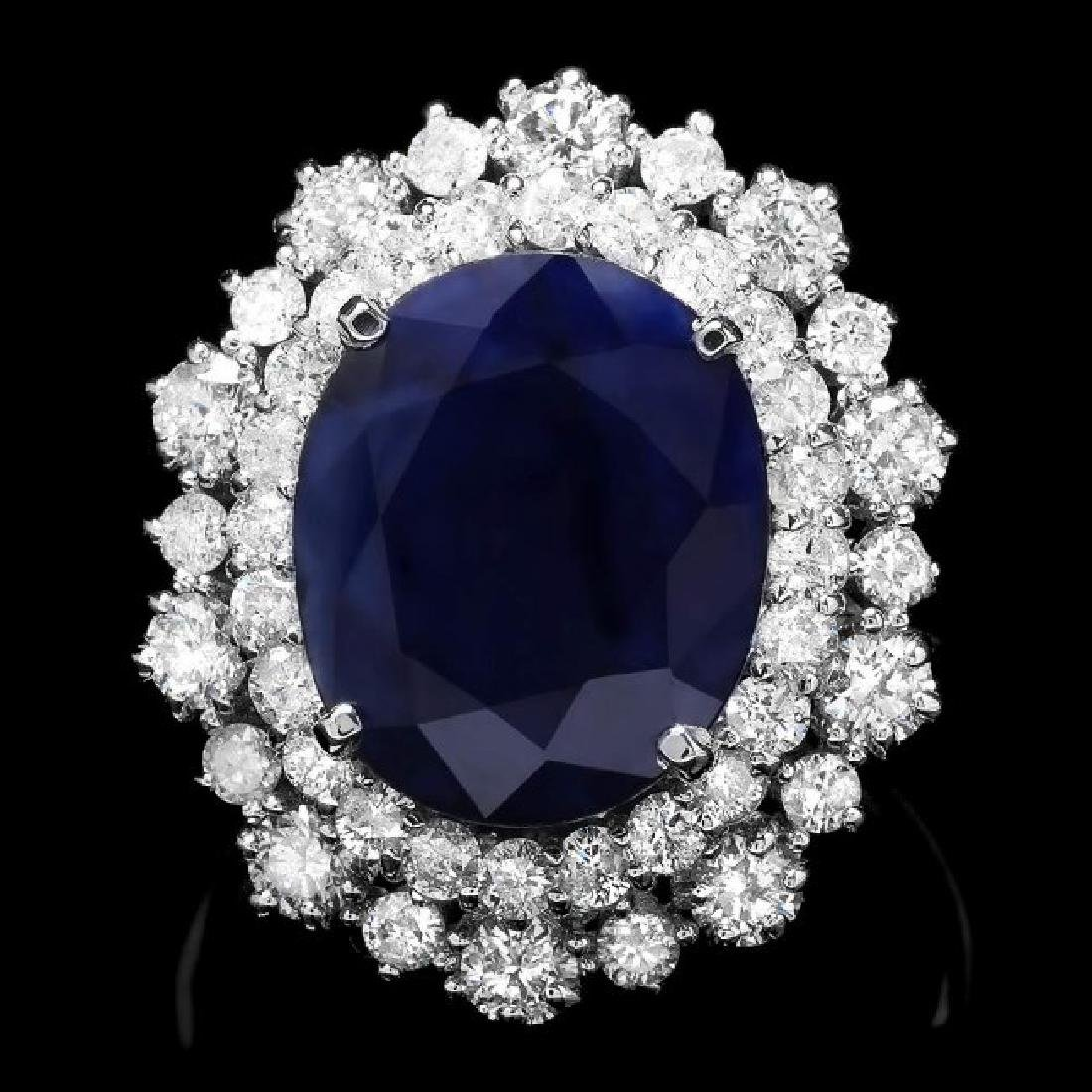 14k Gold 7.00ct Sapphire 1.60ct Diamond Ring