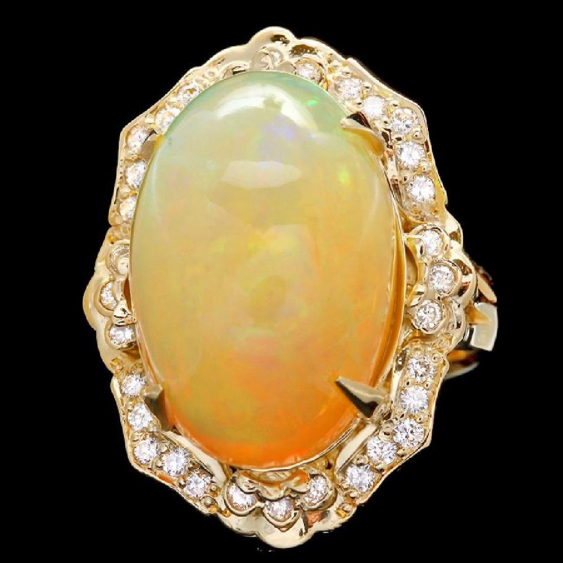 14k Yellow Gold 17.00ct Opal 0.65ct Diamond Ring