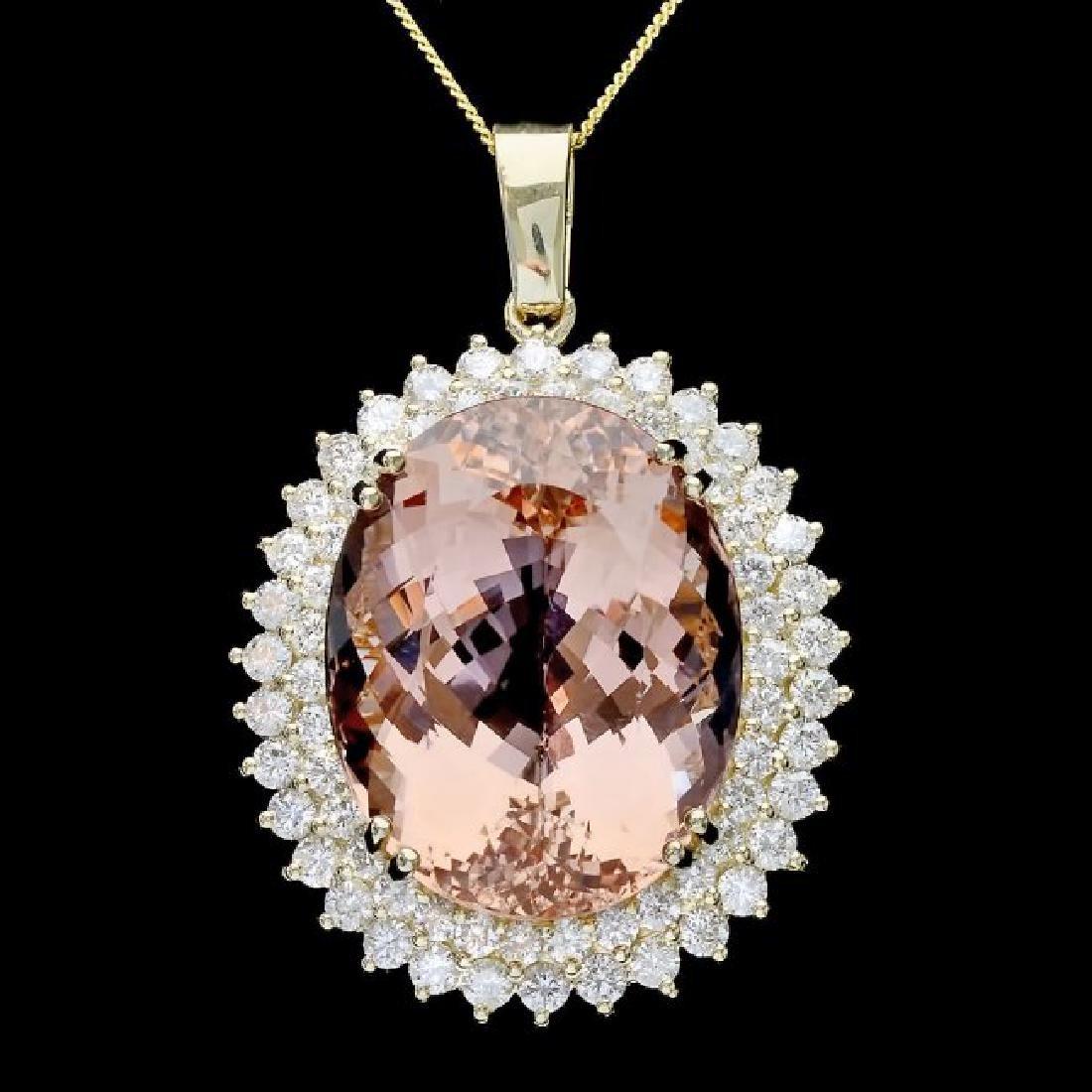 14k Gold 41ct Morganite 3.4ct Diamond Pendant