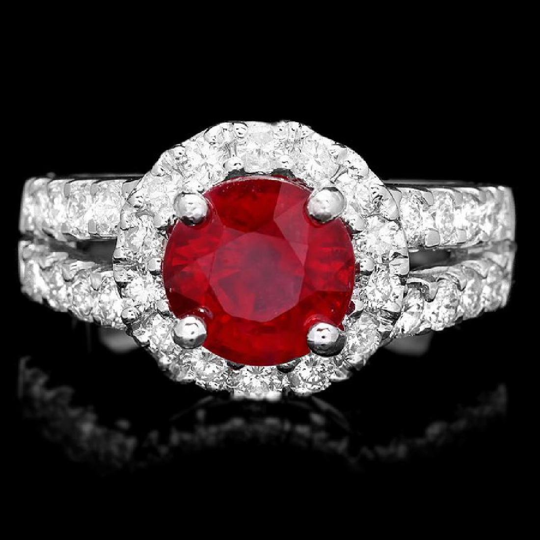 14k White Gold 3.00ct Ruby 1.30ct Diamond Ring
