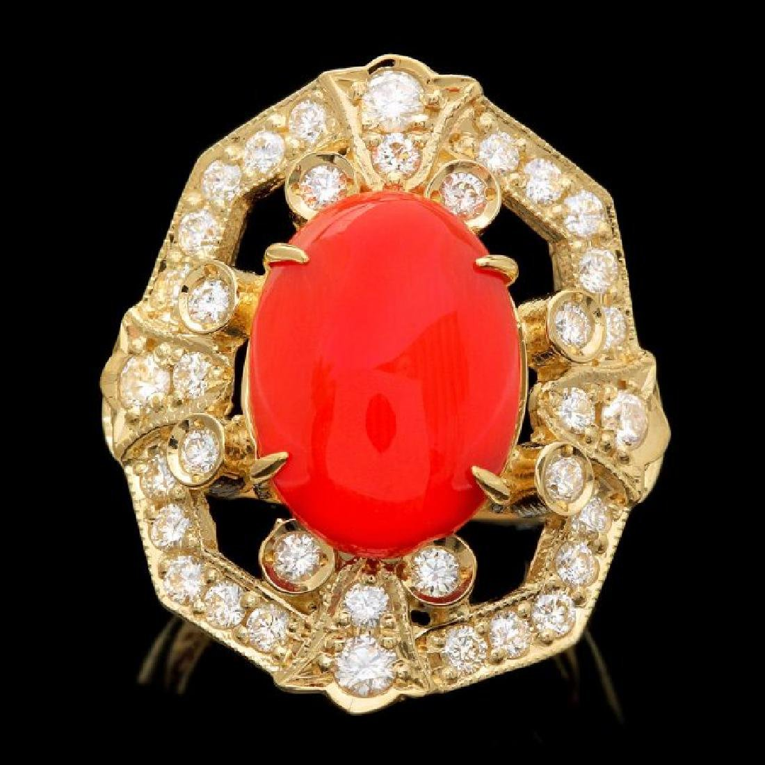 14k Yellow Gold 4.60ct Coral 1.30ct Diamond Ring