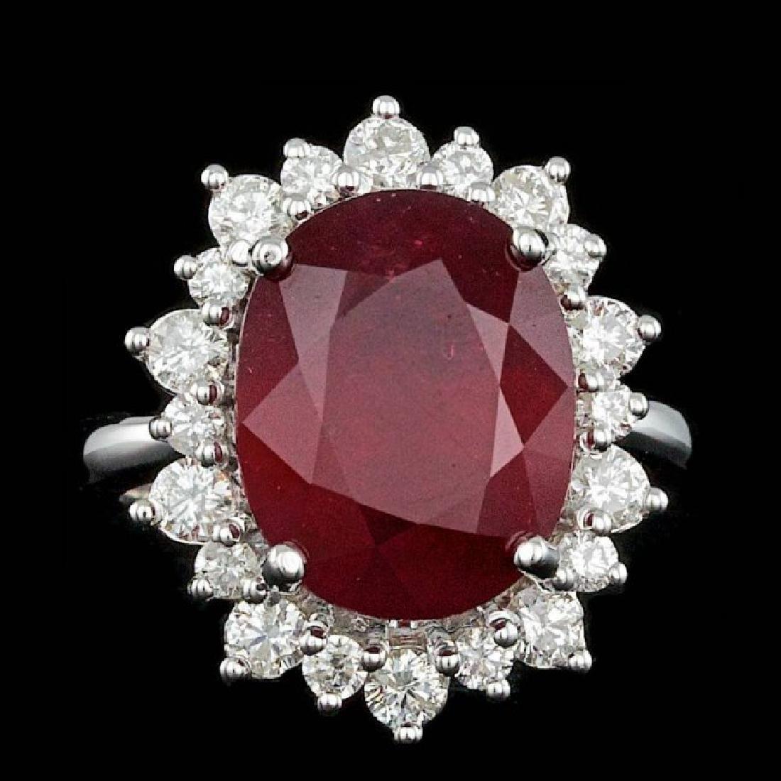 14k White Gold 11.00ct Ruby 1.15ct Diamond Ring