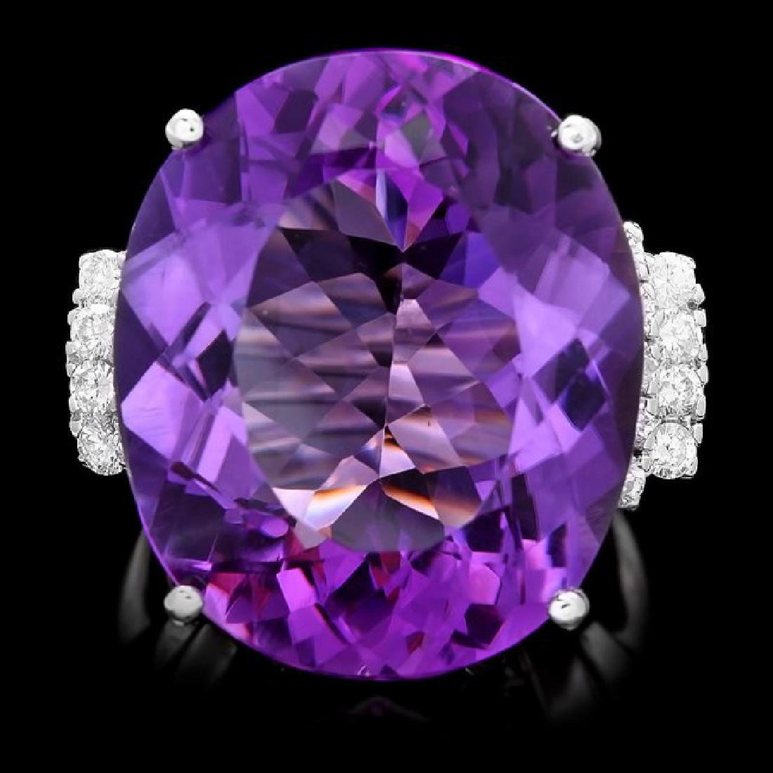 14k Gold 30.00ct Amethyst 0.75ct Diamond Ring