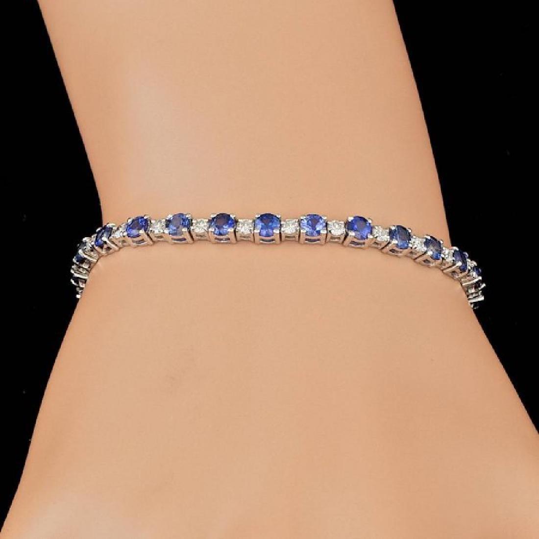 14k Gold 6.00ct Sapphire 1.65ct Diamond Bracelet