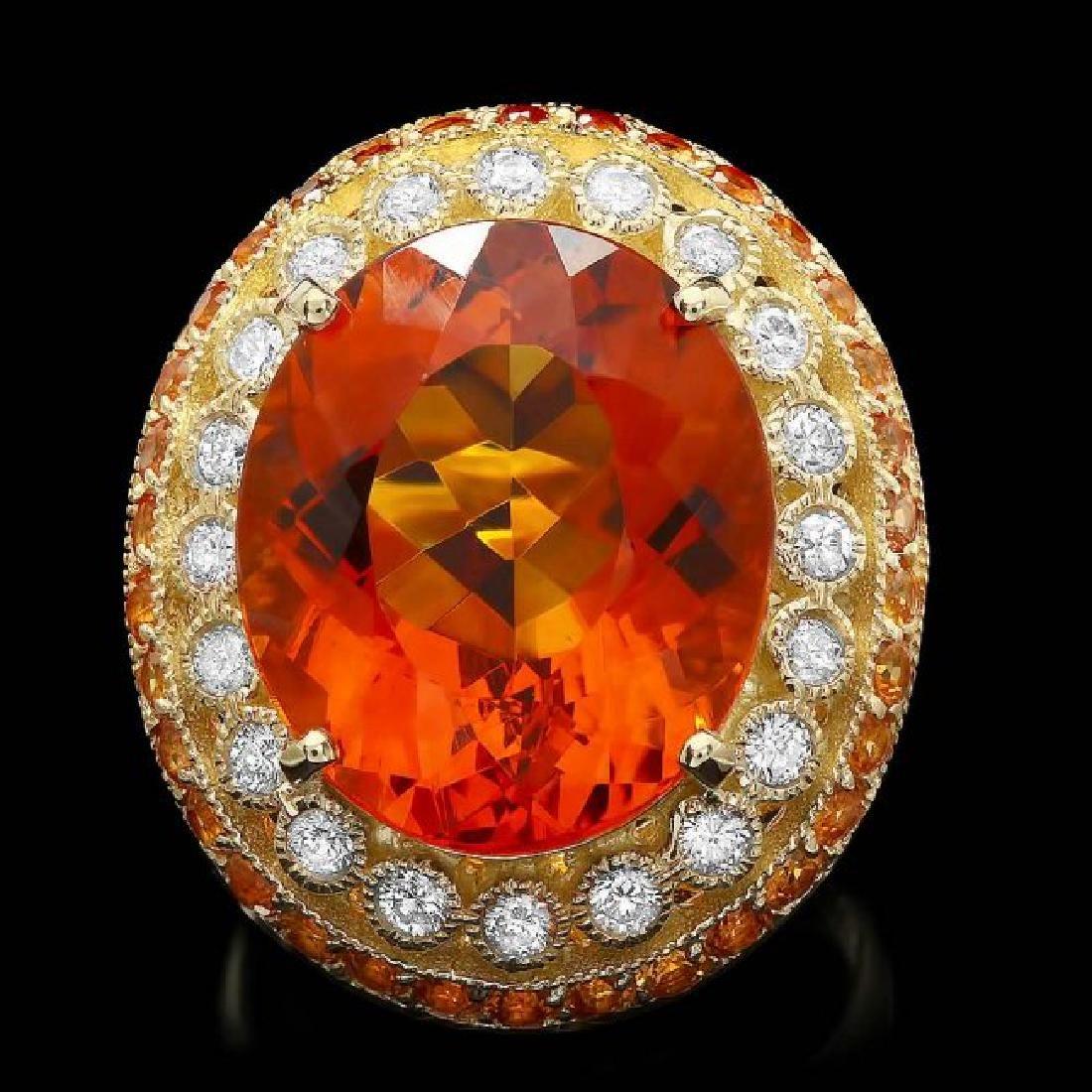 14k Gold 14.50ct Citrine 0.90ct Diamond Ring