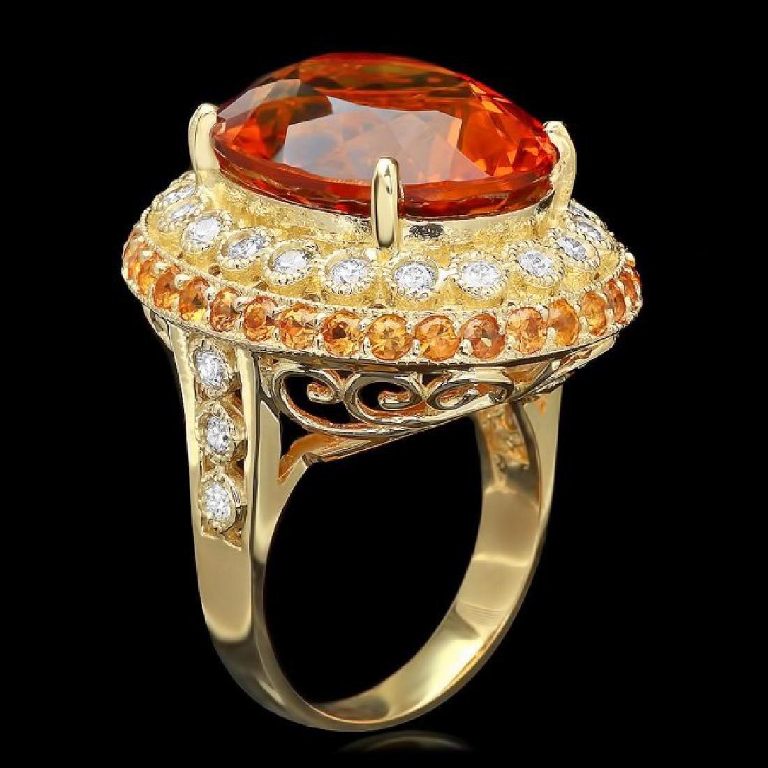 14k Gold 14.50ct Citrine 0.90ct Diamond Ring - 2