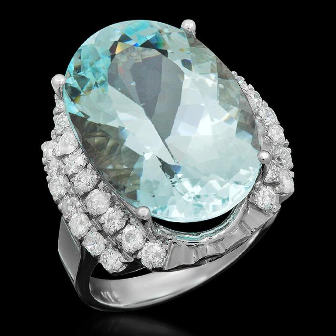 14K Gold 14.95ct Aquamarine 1.17ct Diamond Ring