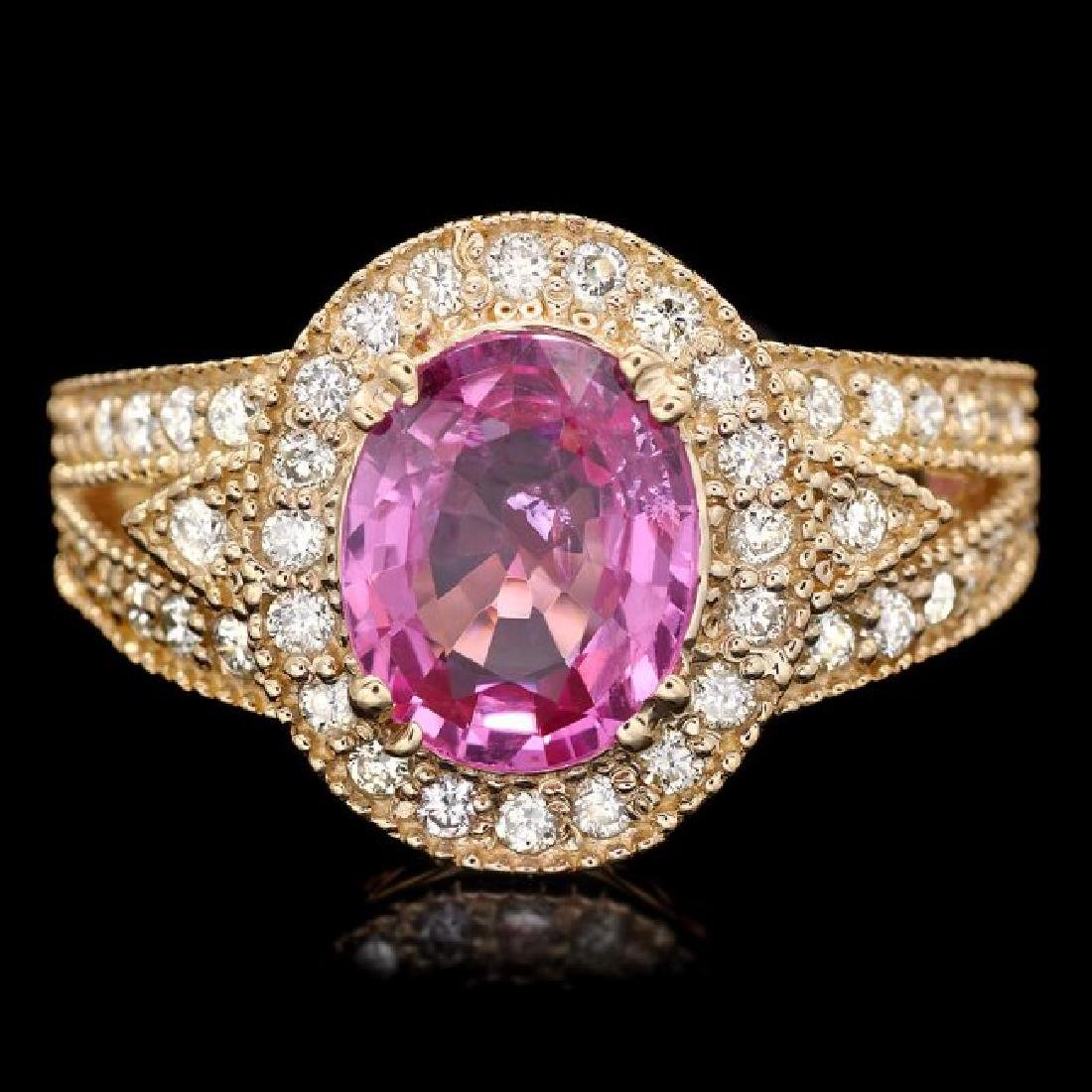 14k Gold 2.4ct Tourmaline .75ct Diamond Ring