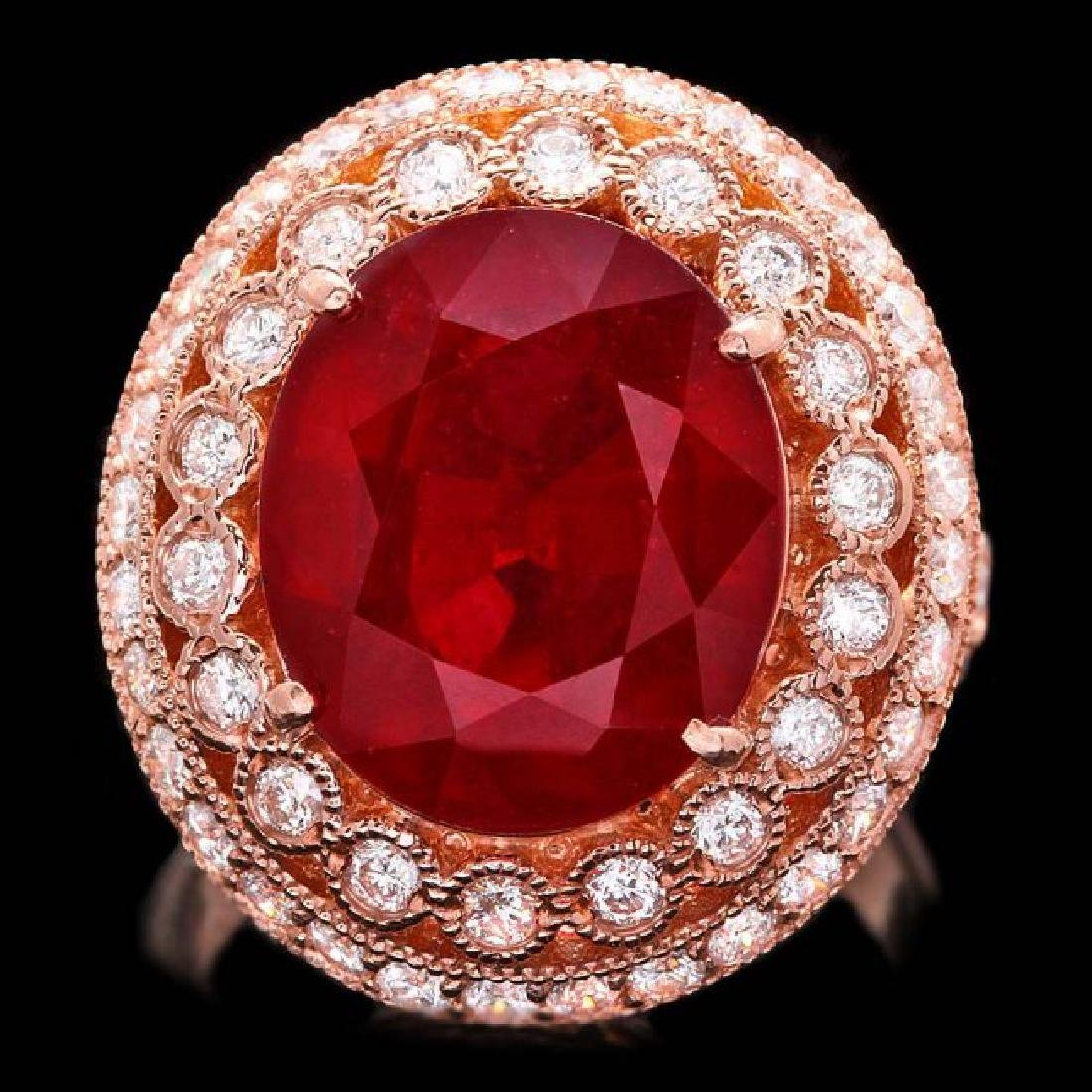 14k Rose Gold 11.00ct Ruby 1.40ct Diamond Ring