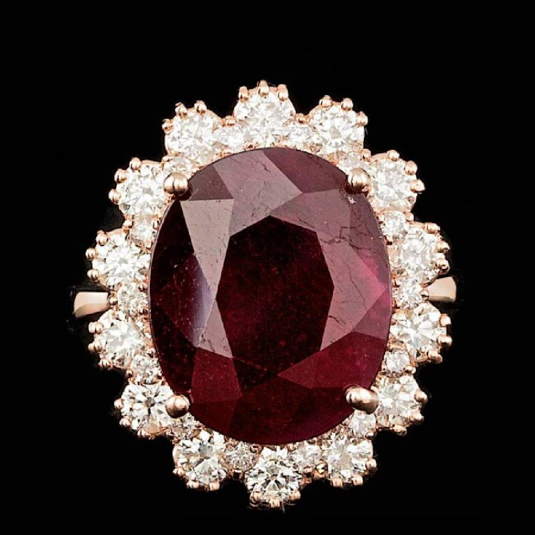 14k Rose Gold 10.00ct Ruby 1.47ct Diamond Ring
