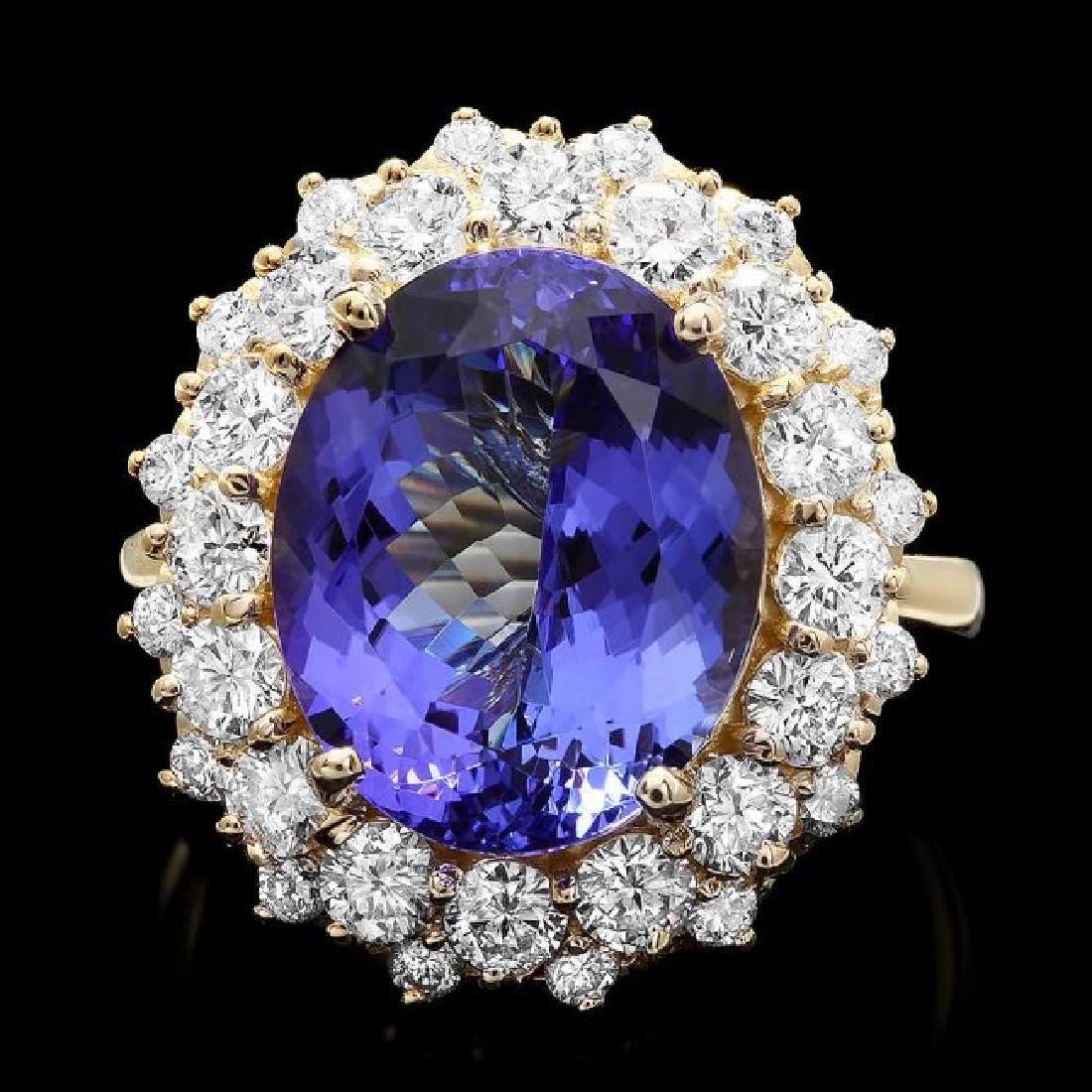 14k Yellow Gold 8ct Tanzanite 1.90ct Diamond Ring
