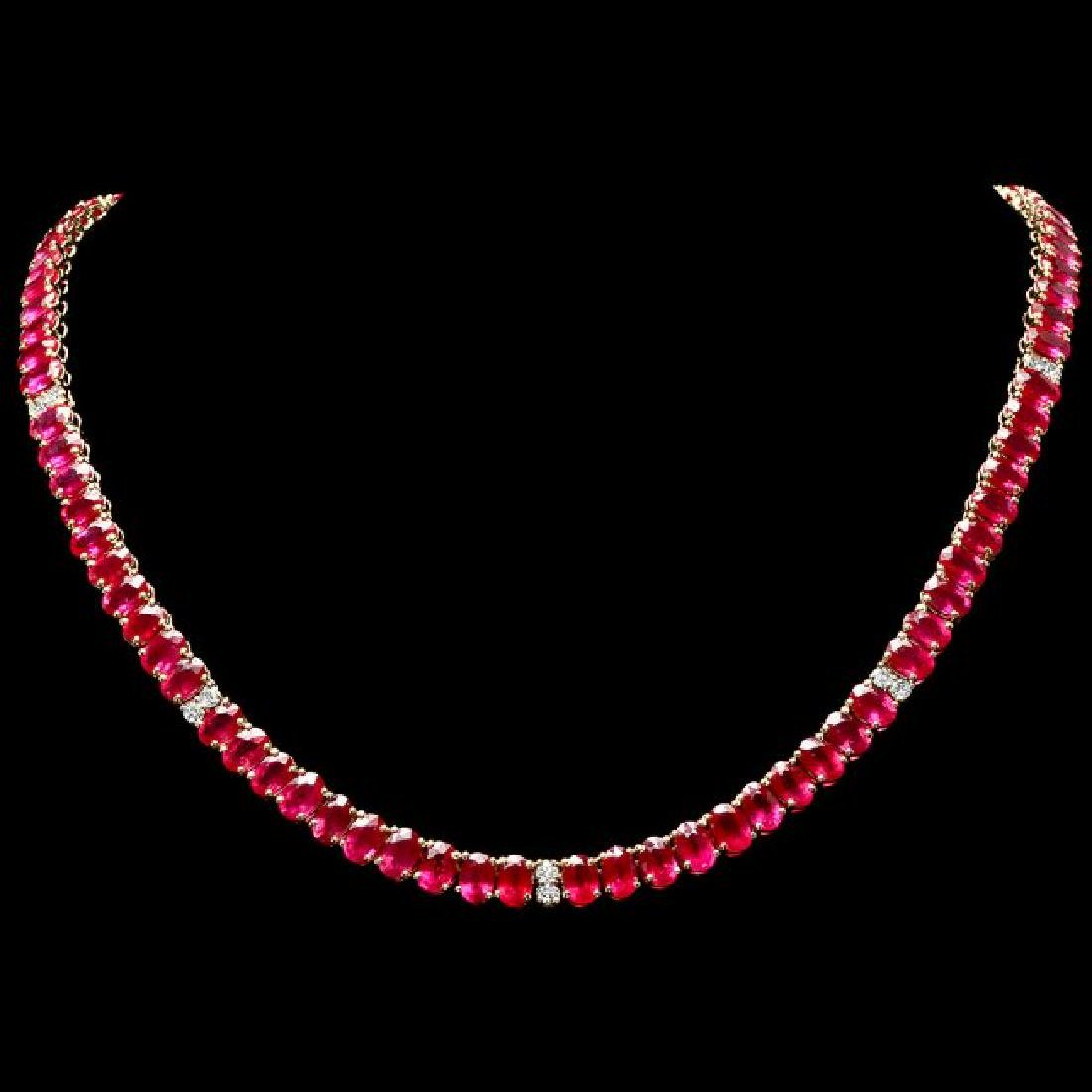 14k Gold 52.70ct Ruby 1.30ct Diamond Necklace